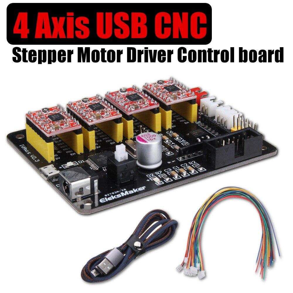 4 Axis Stepper Motor Control Board Driver for GRBl USB CNC For DIY Laser Engraver 3D Printer Parts Accessories ramps 1 4 3d printer control shield 4988 stepper driver for diy project