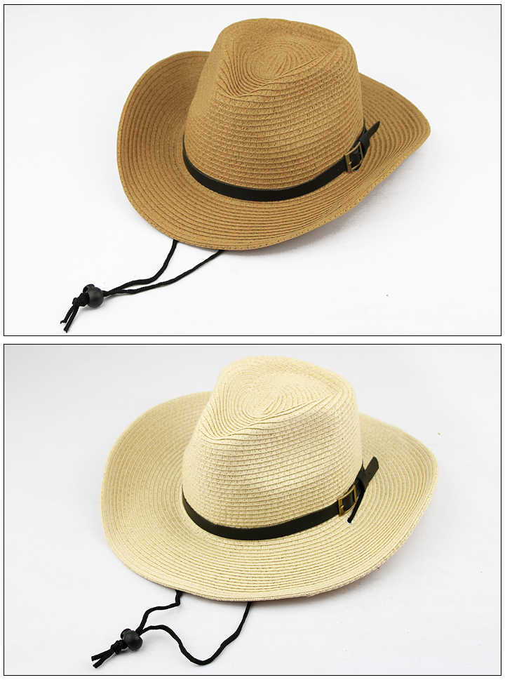 4ca9b1cb8a7f0 ... Summer paper Straw Cowboy Hats for Men Women Children Foldable panama  cap Beach Sunhat Wide Brim ...
