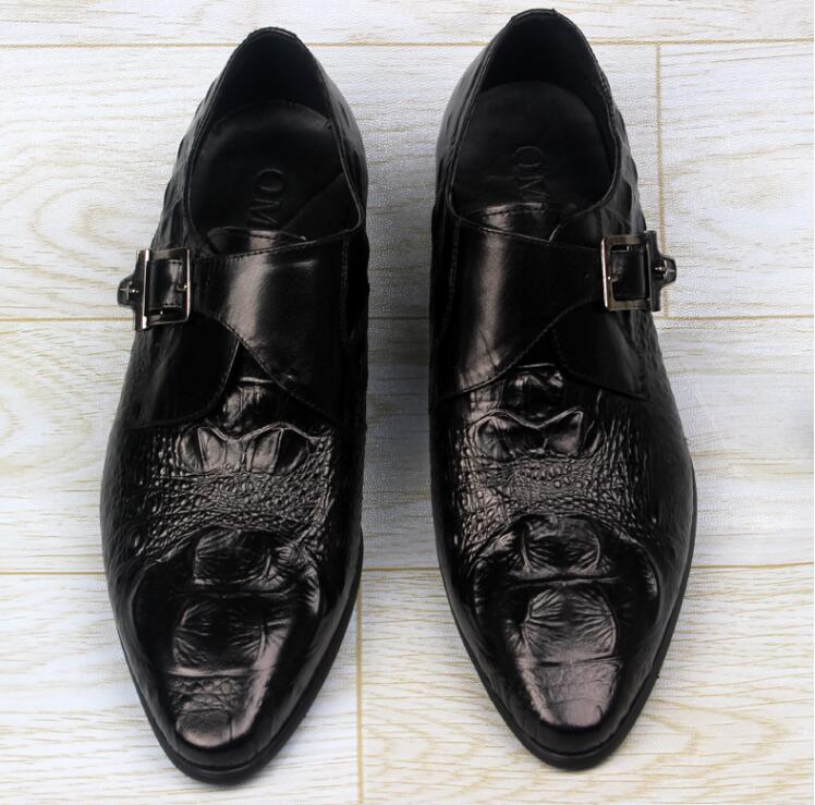 Pulseira Inteligentes Preto vermelho Impressão Homens Negócios Sapatos Casuais Sobre Deslizar Genuíno Jacaré De Sapatas Vestido Dedos Fivela Dos Apontados Oxfords Couro Formais qR1F007