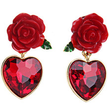 New Arrival Romantic Red Heart Rose Crystal Stud Earrings Women Brincos Earrings Bijoux Jewelry Gift E5238(China)