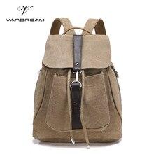 Новинка 2017 года Винтаж бренд холст рюкзак Для женщин Для мужчин ручной работы Дорожные сумки школьный soild Цвет плечо ноутбук Daypacks Mochila