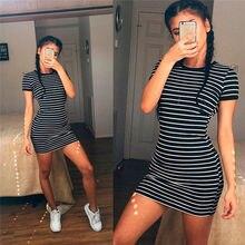 Womens Short Sleeve Striped Party Crew Neck Bodycon Summer Beach T-shirt Dress цена