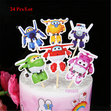 party supplies robot topper cake flags baby boy kids children birthday decorations superhero flag