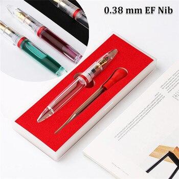 Conta-gotas Ponto Irídio Extra Fine Nib Fountain Pens 0.38mm Transparente Qualidade Durável