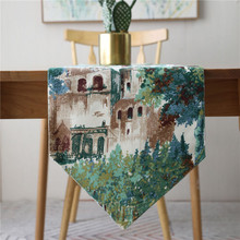 Countryside Table Runner Print Modern Simple Tablecloth Rectangle Coffee Cover for Wedding Party Banquet Home Decor