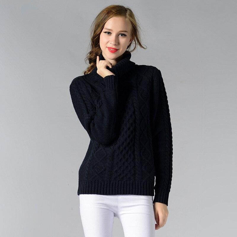 Frauen Winter Pullover Solide Langarm Femme Hohe Kragen Jumper Damen ...