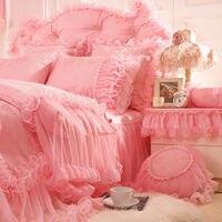 2018 новый корейский постельного белья 4 шт. сатин жаккард Кружева Свадебные Постельное белье king bed Юбки принцессы розовый постельное белье по
