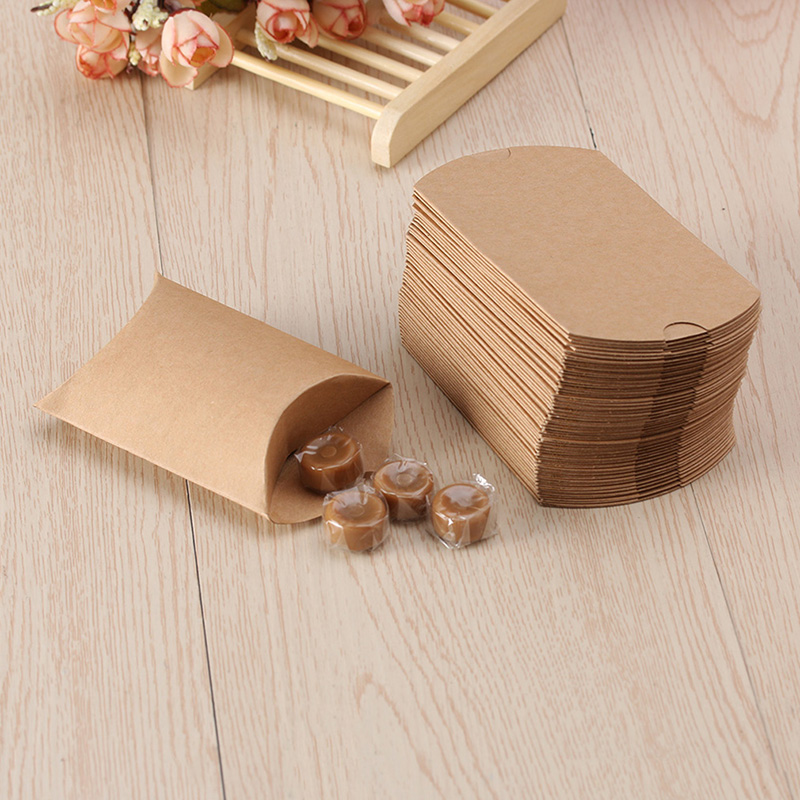10PCS Kraft Paper Pillow Favor Box Wedding Party Favour Gift Candy Boxes Home Party Birthday Supply Christmas Gift Candy Boxes