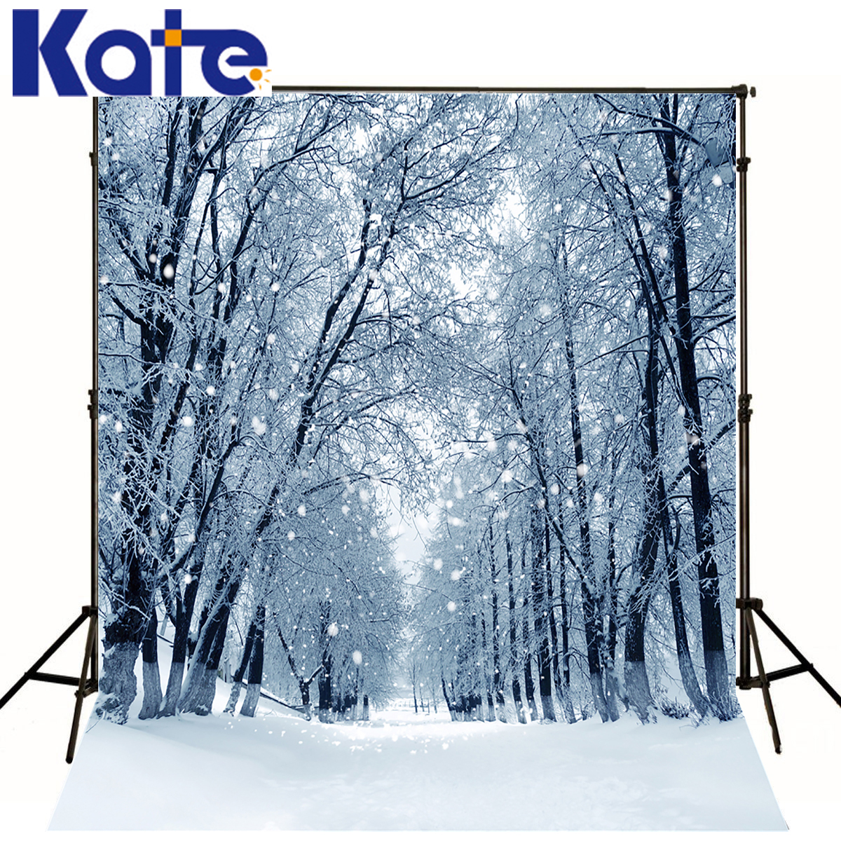 KATE Winter Photography Backdrop White Snow Spot Background Photography Scenery Long Road Forest Backdrops For Photo Studio kate christmas photography backdrops white frozen snow background tree winter backdrop for wedding photo studio bcakground