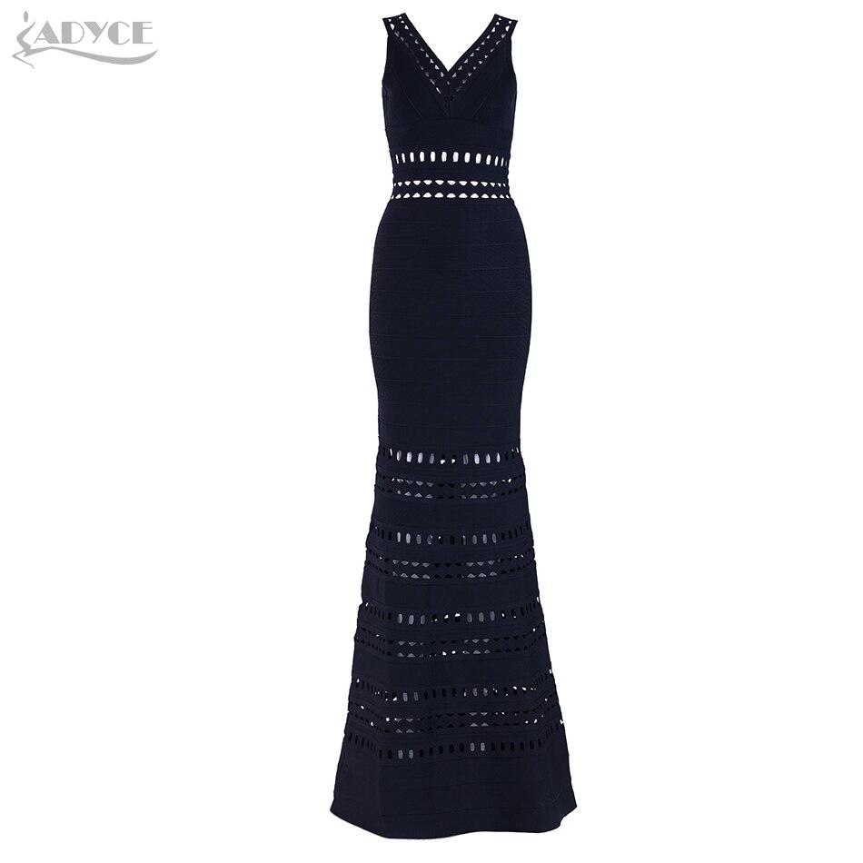 Adyce New Summer Women Bandage Dresses Vestidos Verano 2018 Hollow Out V-Neck Long Bodycon Maxi Celebrity Evening Party Dresses