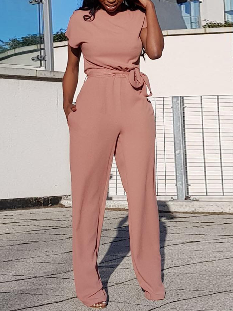 2018 Trendy Women Casual Jumpsuit Short Sleeve Alluring Solid Waist Belted Wide Pants Ju ...