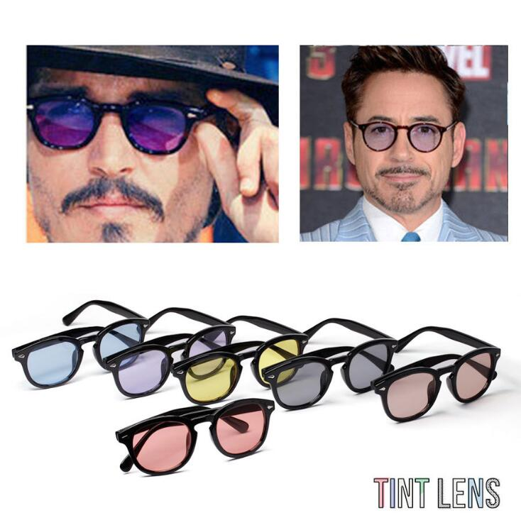d3a0138696 Άνδρες   s γυαλιά Vintage Johnny Depp Robert Downey Jr Sunglasses Retro  Fashion Full Rim Men Sun Glasses Rx able