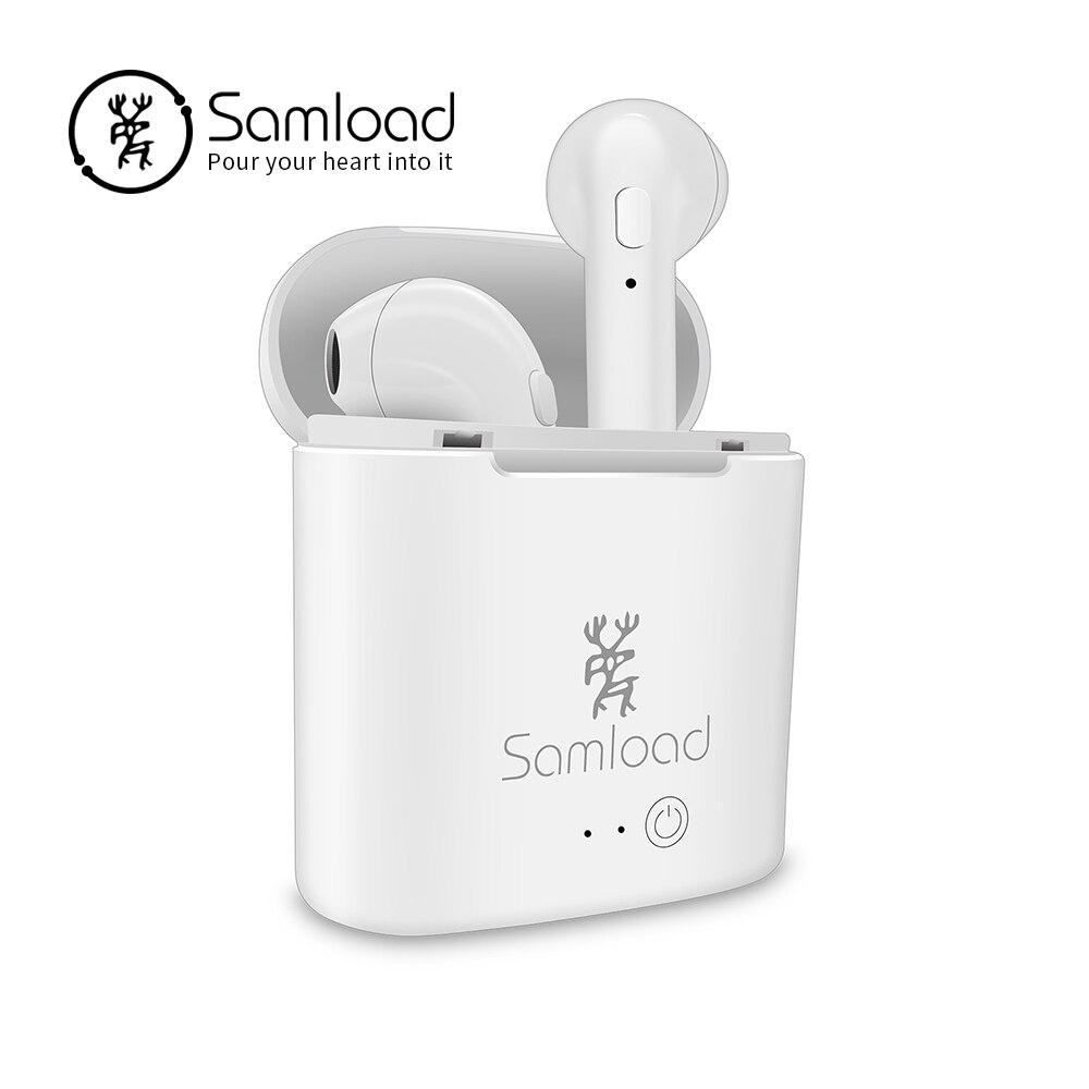 Samload Wireless Bluetooth Earphone I7 Headphone Double Twins Stereo Headset For Apple ipad iPhone 6 Xiaomi Huawei TWS Earbuds