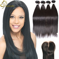Virgo Cabello Compañía Pelo Remy Straight Hair Bundles Con Cierre 3 o 4 Paquetes Con Cierre Barato Peruanos Rectas Del Pelo cierre