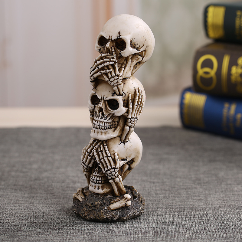 Free Shipping Resin Craft Human Skull Statue High Quality Creative Statue Sculpture Gift Home Decoration Human Skull