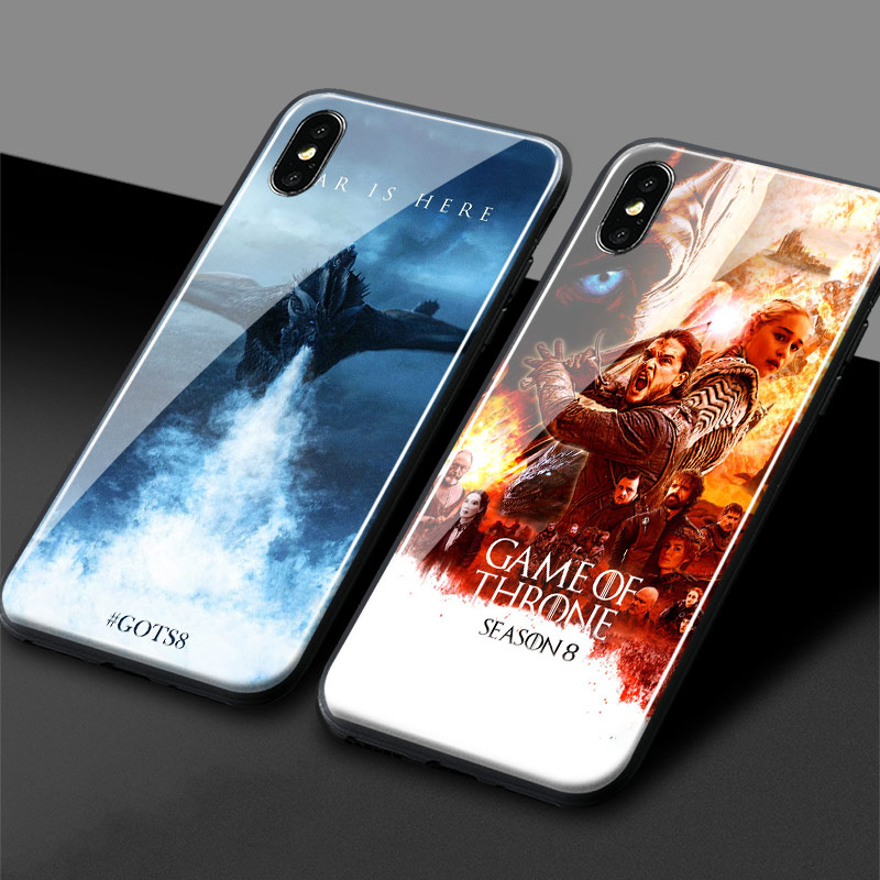 Game of Throne GOT season 8 Tempered Glass Phone Case Soft ...
