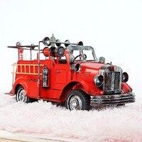 עבודות יד וינטג 'קישוטי מלאכות מתנות מודלים אש מנוע דגם עם גג בית רכב קישוט 34*14*14 ס