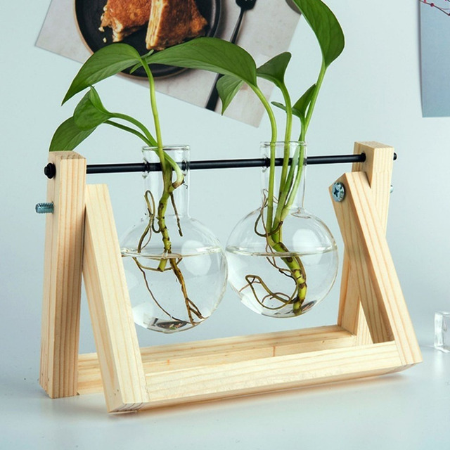 Desktop Glass Planter Bulb Vase with Retro Solid Wooden Stand and Metal Swivel Holder for Hydroponics Plants Home Office Decor 2
