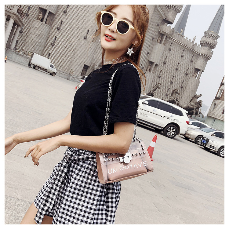 18 Summer Fashion New Handbag High quality PVC Transparent Women bag Sweet Printed Letter Square Phone bag Chain Shoulder bag 11