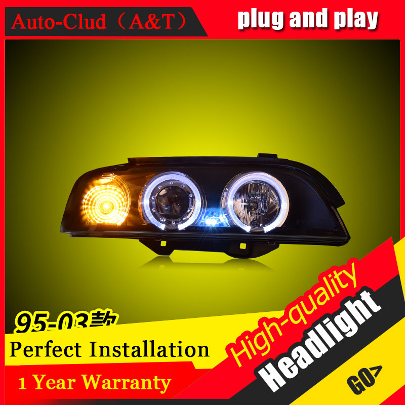 Auto Clud Car Styling For BMW 5 series  E39 headlights 95-03 For E39 head lamp led DRL front Bi-Xenon Lens Double Beam HID KIT 2pcs 12v 31mm 36mm 39mm 41mm canbus led auto festoon light error free interior doom lamp car styling for volvo bmw audi benz