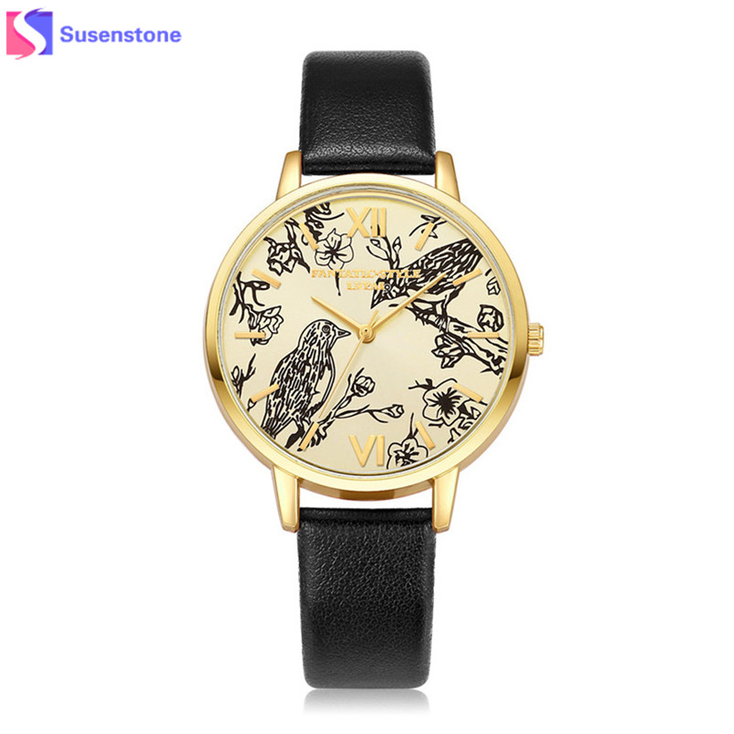 Women Vogue Watches Bird Printing Analog Quartz Wrist Watch Female Dial Clock Ladies Casual Watch Relogio reloj mujer 2017 retro small dial watch women simple desingn thin belt casual watches womens vogue pu leather analog quartz wrist watch reloj n