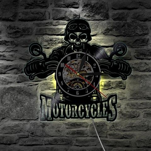 1 peca motocicletas cranio vinil registro relogio de parede com iluminacao led moto motociclista cranio