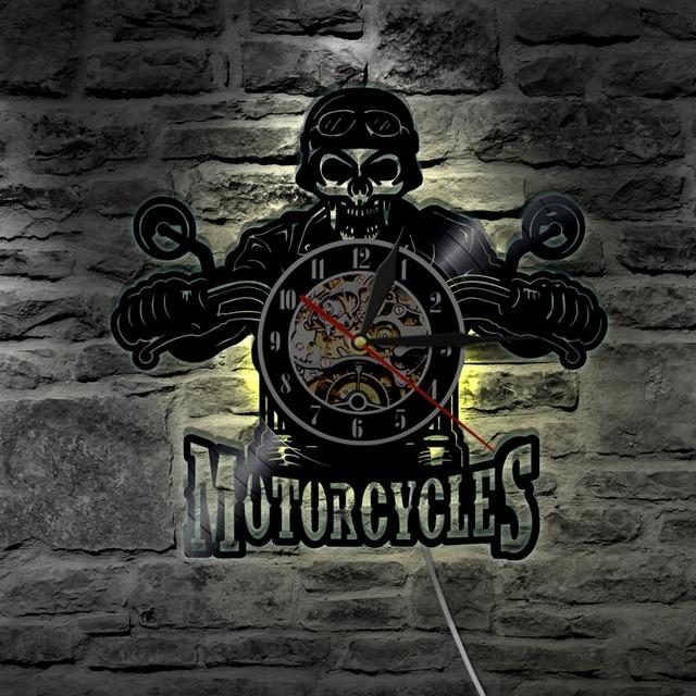 1Piece Motorcycles Skull Vinyl Record Wall Clock With LED illumination Motorbike Biker Skull Wall Hanging Decorative Lighting