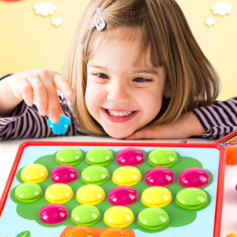 Puzzles Toy Colorful Buttons Assembling Mushrooms Nails Kit   1