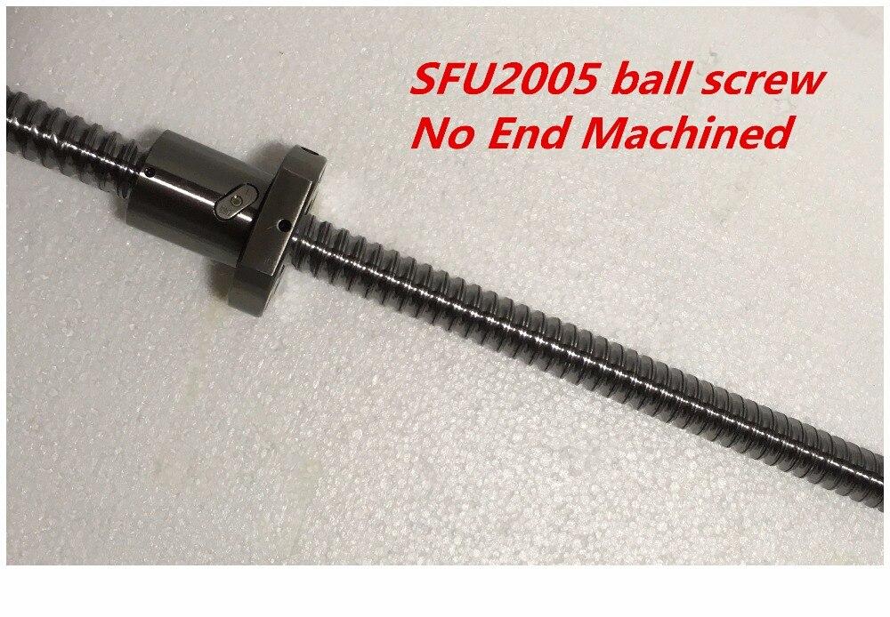 1set 2005 Ball Screw SFU2005 with single ball nut 2005 with no end machined CNC parts 20mm ballscrew 1pcs ball screw rm1605 850mm screw shaft guide 1pcs sfu1605 single ball nut with end machined for cnc router