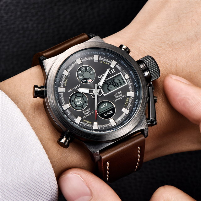 NORTH Fashion Brand Men Watches Quartz Digital Analog Watch Men Casual Military Sport LED Electronic Wrist Watch for Men Husband 4