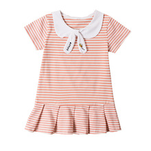 Girls Summer Dress For Baby Girl Casual Dress Striped Summer Dress Sailor Collar  Kids Clothes casual striped color block dress