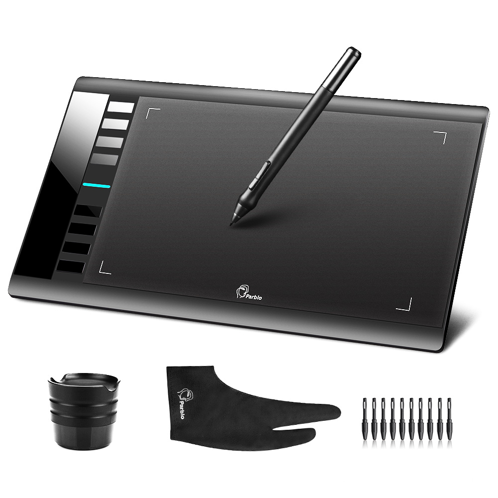 Original Parblo A610 (+10 Extra Nibs) Digital Graphics Drawing Tablet Rechargeable Pen With Stand + Anti-fouling Glove (Gift)