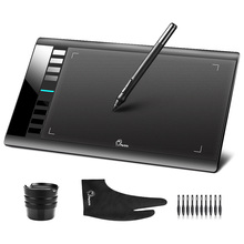 Original Parblo A610 (+10 Extra Nibs) Digital Graphics Drawing Tablet Rechargeable Pen with Stand + Anti fouling Glove (Gift)