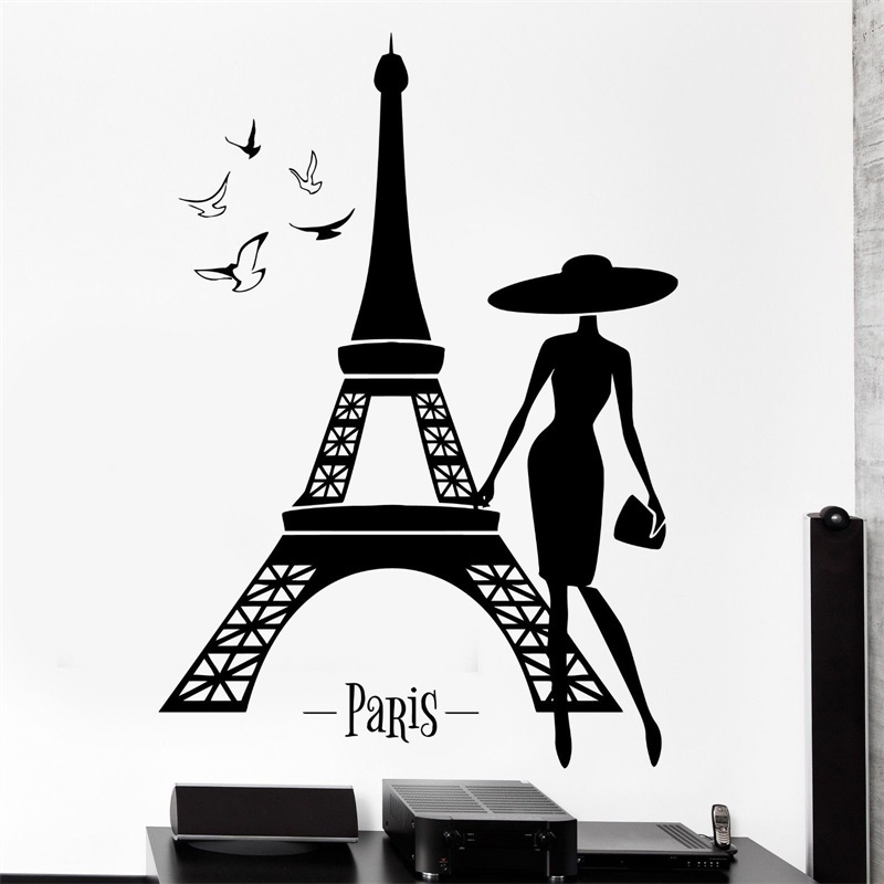 Buy wall decal paris france eiffel tower sexy girl birds vin - Stickers muraux paris ...