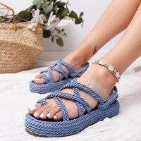 Летние женские сандалии из пеньковой кожи; Вьетнамки; модная женская обувь без застежки