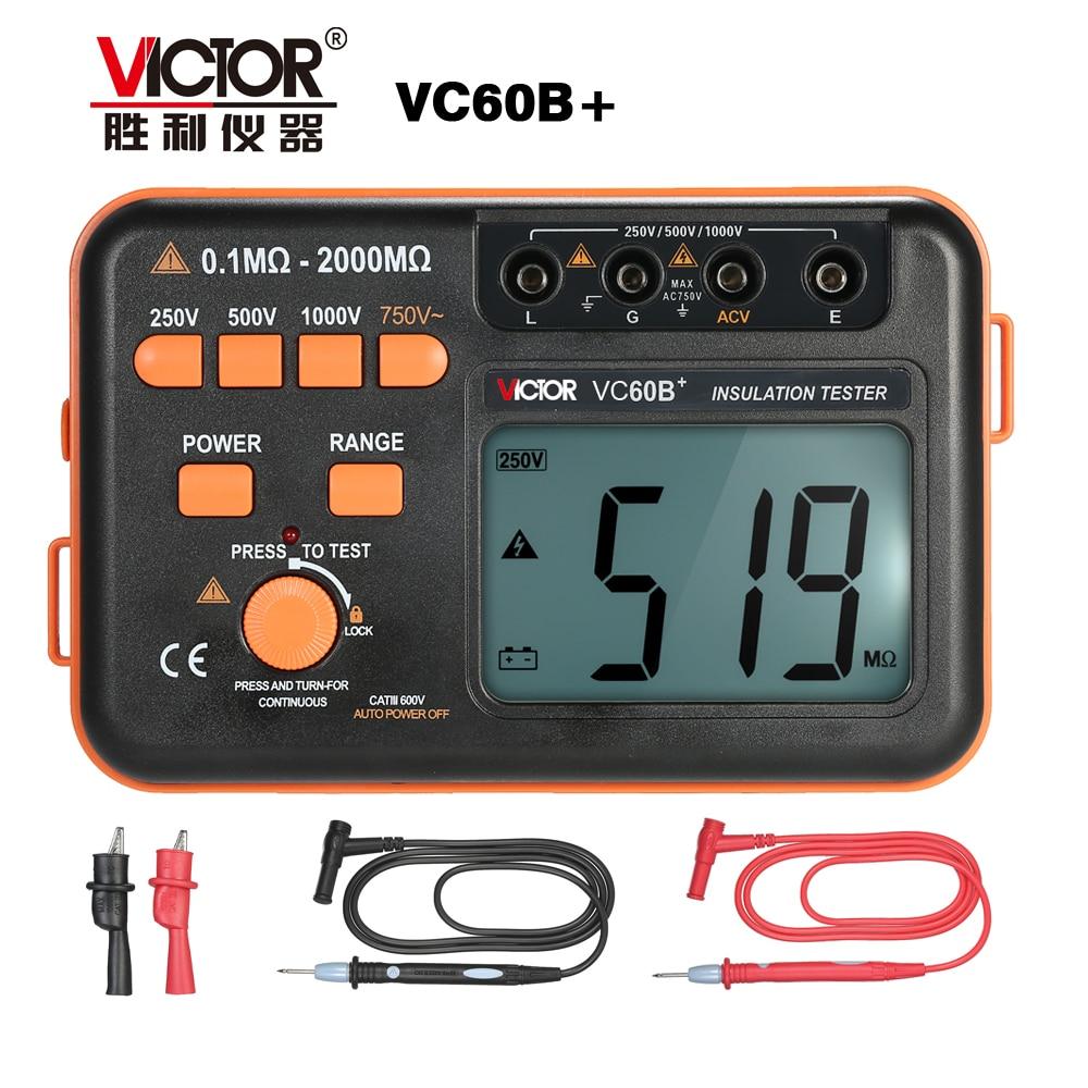 Victor VC60B + testeur de résistance d'isolation numérique 1000 V Original Megger testeur d'isolation DC/AC 0.1 ~ 2000 m ohm vente en gros