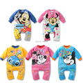 1 pcs lot New Spring Autumn Baby Mickey Minnie Stitch Playsuit Romper Outfit Suit newborn jumpsuit sleepsuit 0-24mont