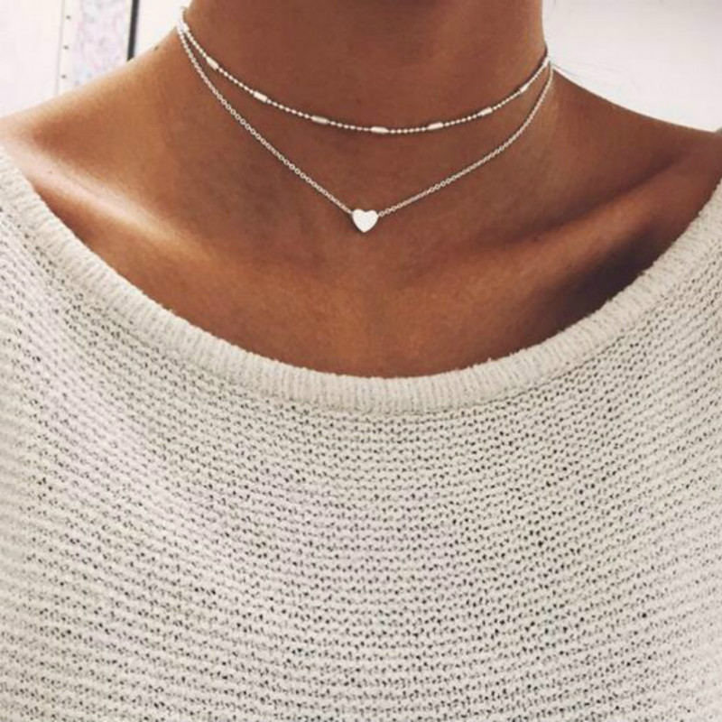 2019 Simple Love Heart Choker Necklace For Women Multi Layer Beads Chocker collar ras du cou collier femme Statement jewelry(China)