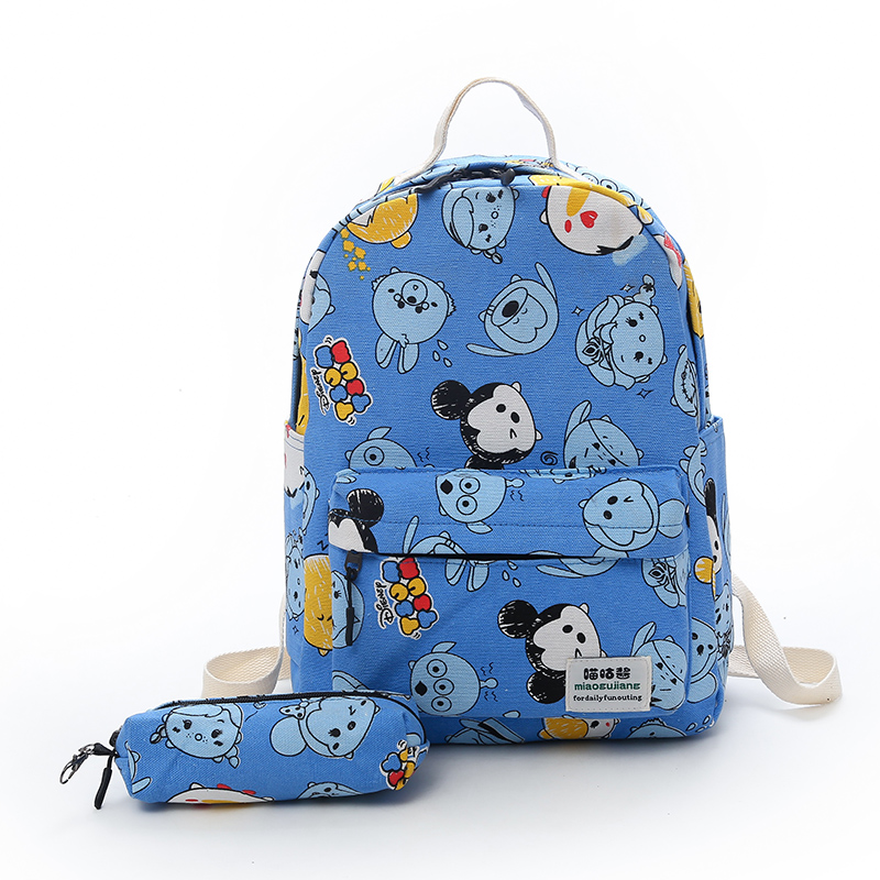 Canvas Printing Backpack Women School Backpacks Bag for Teenage Girls and Boys 2PCS Rucksack Bagpack Female Schoolbag Mochila