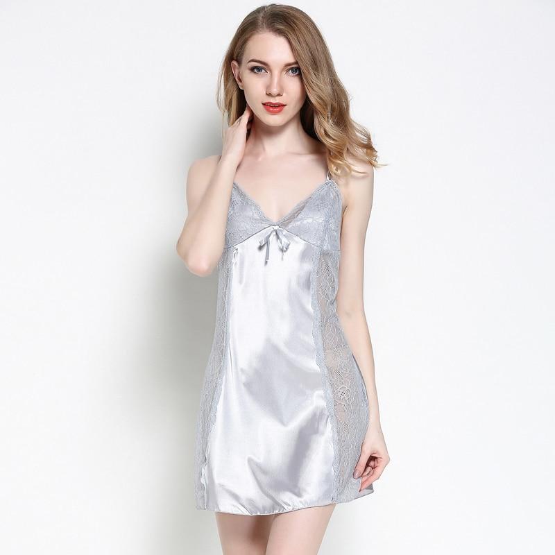 Jiazili 2018 New Sexy Spaghetti Strap Sleepwear Night Dress Lace Splicing Nightdress Nightgrown Female Nightwear Nuisette