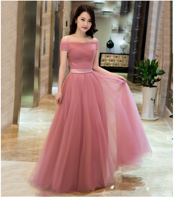 2016 New Dusty Pink Bridesmaid Dresses Long Off The Shoulder Tulle In Stock Ready To