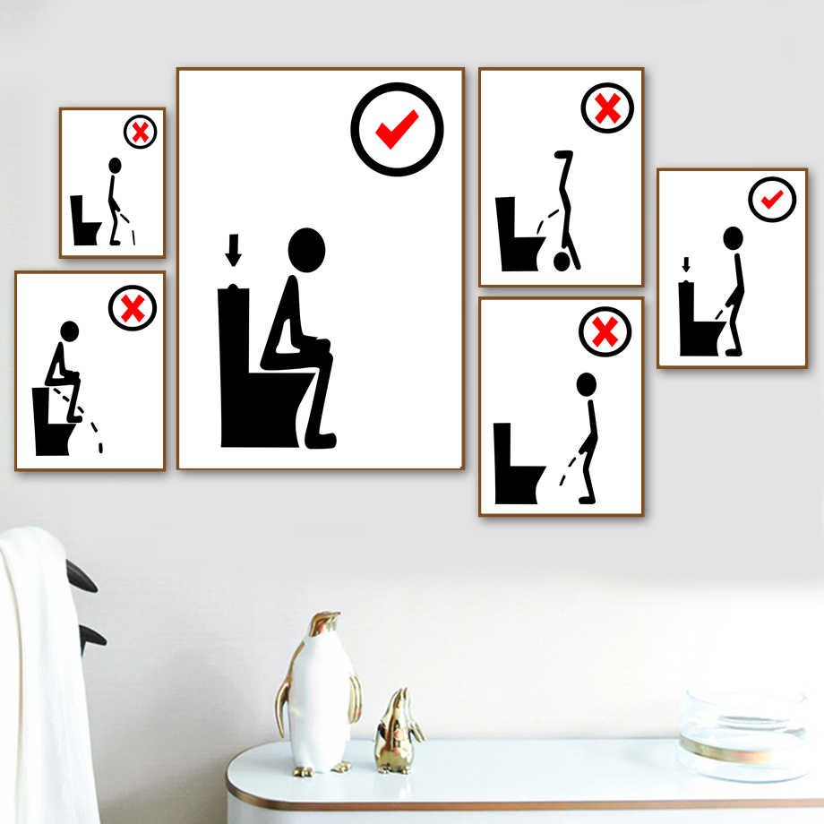 Gohipang Toilet Funny Poster Black White Minimalism Wall Art Canvas Painting Nordic Posters And Prints Wall Picture For Bathroom