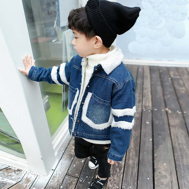 24fb9f0ca0ff Boys Winter Jacket Boy Jean Jacket Fashion Kids Coat Children Clothes Lamb  Wool Cowboy Cotton Denim Outerwear Children Clothing