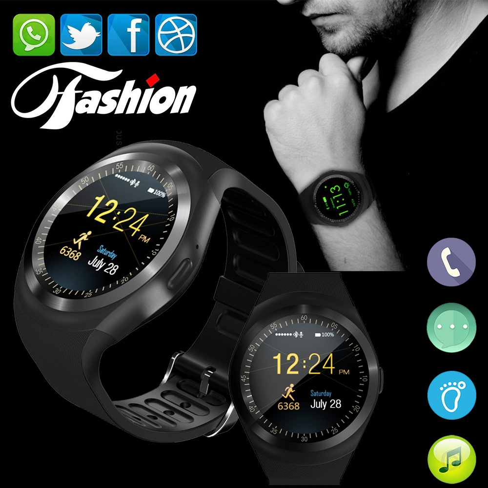 Smartch Y1 Smart Watch Support Nano SIM Card and TF Card Smartwatch PK GT08 U8 Wearable Smart Electronics Stock For iOS Android