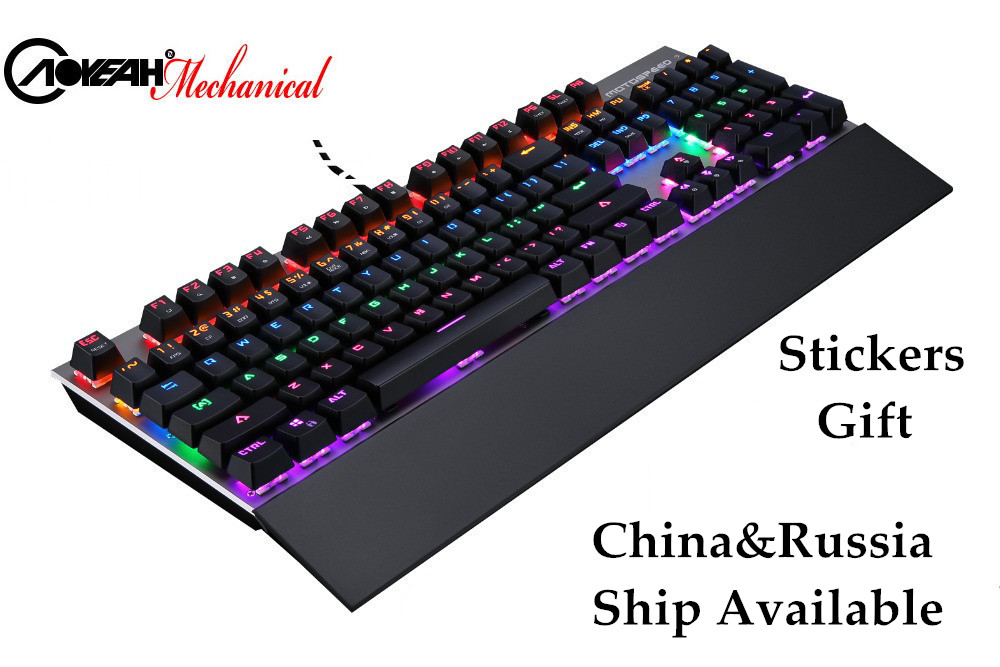 AOYEAH 2016 New Original Motospeed CK108 RGB Mechanical Metal Colorful backlit Gaming Keyboard with Big Wrist Rest
