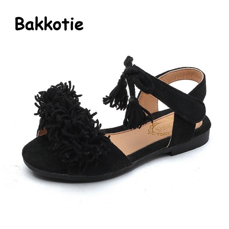 Bakkotie 2018 New Fashion Summer Baby Girl Red Princess Sandal Children Pu Leather Tassel Brand Flat Toddler Rhinestone Shoe Kid