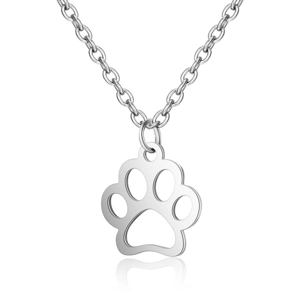 Todorova Stainless Steel Jewelry Dog Cat Paw Print Necklaces & Pendants Puppy Memorial Men Necklace Gold Chain Necklace Women