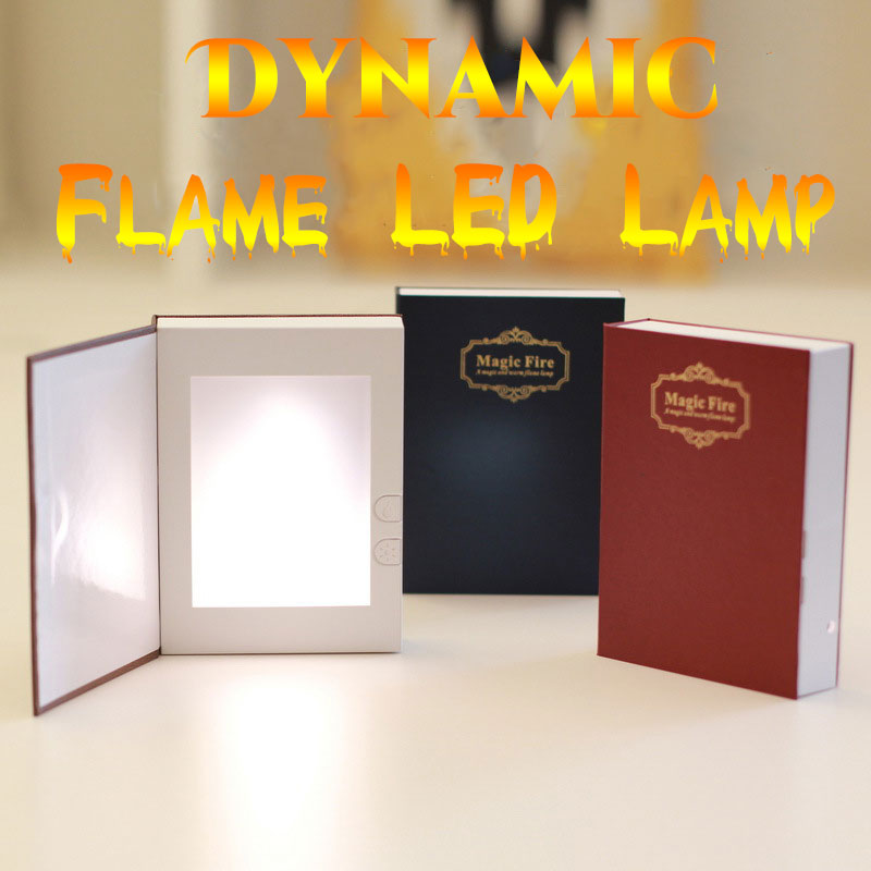 Dynamic Led Flame Effect Book Light USB Rechargeable Night lamp Mother's Day Gift Reading Bed Room Night Lights creative heart lock led night lights accompanying usb rechargeable reading lamp valentine day lovers romantic gift novelty light