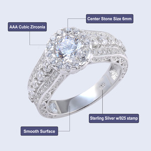 Image 4 - Newshe Halo חתונת אירוסין טבעת 1.8 Ct עגול לחתוך AAA CZ מוצק 925 כסף סטרלינג תכשיטים קלאסיים לנשים JR4232
