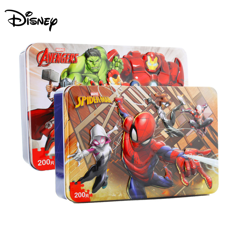 Disney Spider-Man Avengers Plane Puzzle 200 Piece Iron Box Wooden Jigsaw Toys Zhiyi Development Hands-on Puzzle
